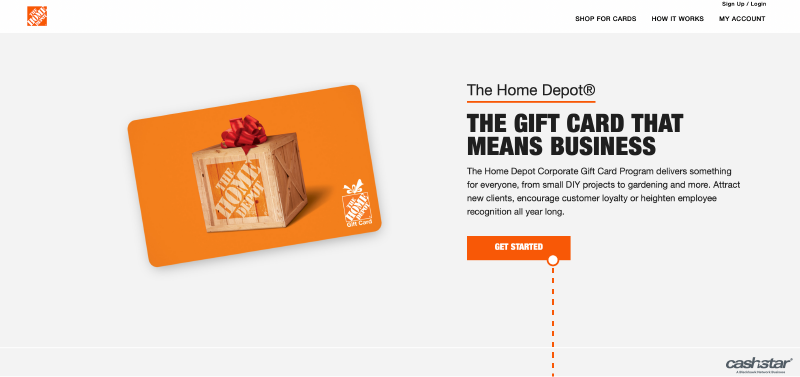 The Home Depot CashStar landing page image